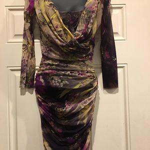 Jean Paul Gaultier sheer floral motif dress